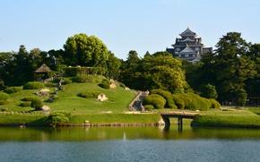 Картинка Природа, Озеро, Деревья, Япония, Дом, Japan, Nature, Bridge, Park, Мостик, Lake, Trees