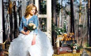 Картинка праздник, букет, чемодан, невеста, мишки, свадьба, декор