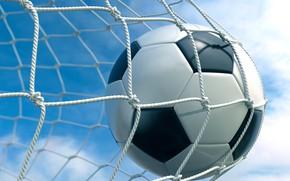 Обои облака, небо, гол, ворота, фон, сетка, футбол, мяч