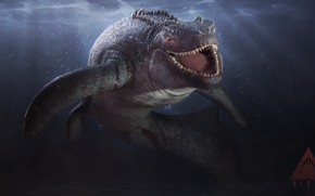 Обои зубы, Глубина, Акула, рептилия, белая акула, Skin, reptile, teeth, Great white shark, Ящероподобный, Depth, Saurian, ...