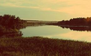 Картинка лето, гладь, тишина, Вода, Деревья, Река, Берег, Красота, беззаботность, Просторы