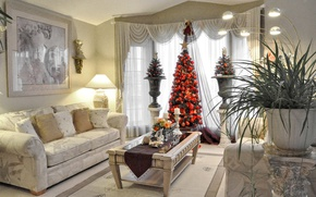 Обои Рождество, елка, гостиная, лампа, столик, праздник, Новый Год, картина, диван, ваза