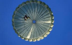 Обои небо, прыжок, парашутист