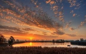 Картинка озеро, рассвет, утро, Германия