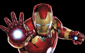 Картинка костюм, черный фон, Iron Man, комикс, MARVEL, Железный Человек