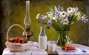 Картинка ромашки, букет, молоко, клубника, натюрморт, васильки