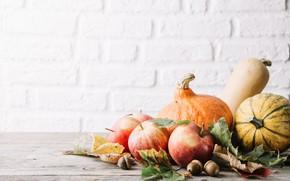 Картинка осень, листья, яблоко, плоды, тыква