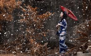 Картинка девушка, снег, зонтик, настроение, японка, кимоно, азиатка