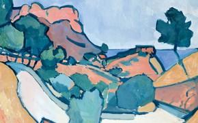 Обои картина, фовизм, Дорога в Горах, Андре Дерен
