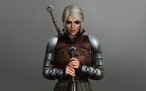 Картинка Ciri, The Witcher 3 Wild Hunt, ведьмак, девушка, меч, доспех, Cirilla
