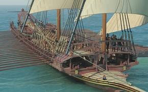 Картинка лодка, парус, вёсла, Order Galley, галера
