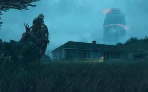 Картинка трава, дом, существо, фонарик, home