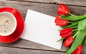 Картинка любовь, цветы, кофе, букет, чашка, сердечки, тюльпаны, red, love, wood, flowers, cup, romantic, hearts, tulips, …