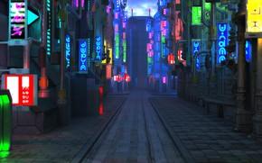 Обои улица, тротуар, Blade Runner Future City