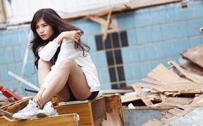 Картинка девушка, лицо, волосы, ножки, азиатка, сидит