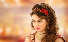 Картинка колье, красная помада, индийская актриса, india girl, Hansika Motwani, индийская богиня, хансика мотвани