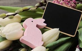 Картинка цветы, кролик, Пасха, тюльпаны, Праздник, фигурка