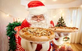 Картинка праздник, Рождество, Новый год, пицца, выпечка