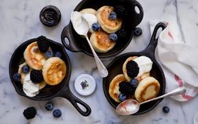 Картинка ягоды, завтрак, черника, блины, выпечка, ежевика, джем, сметана, Anna Verdina
