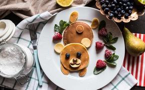 Картинка ягоды, малина, завтрак, черника, блины, blueberry, dessert, сахарная пудра, kinder
