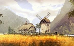 Обои поле, лето, горы, мельница, домик