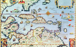 Обои Теодор де Бри, Карибские острова и штат Флорида, карта