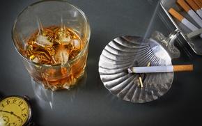 Картинка стакан, стиль, ретро, дым, часы, сигарета, алкоголь, виски, пепельница, винтаж, спиртное, портсигар, мужской стиль
