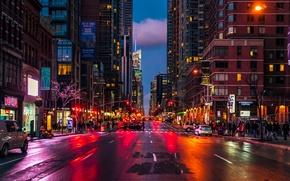 Обои город, здание, ночь, улица, огни