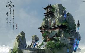 Картинка кристалл, дом, небеса, арт, пагода, локация, lok du, china xianxia