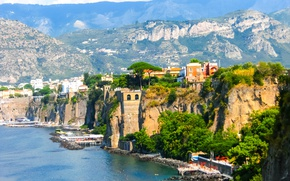 Картинка city, город, Италия, Italy, coast, panorama, Europe, view, cityscape, Naples, Неаполь, travel, Sorrento