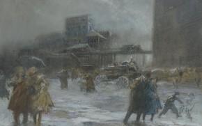 Обои картина, городской пейзаж, Эверетт Шинн, Cooper Square, Everett Shinn
