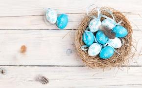 Обои весна, decoration, гнездо, wood, Easter, Пасха, корзинка, яйца крашеные, spring, Happy, eggs