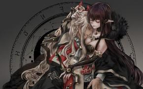 Картинка girl, cleavage, boobs, anime, hug, elf, artwork, feeling, symbols, anime girl, pointy ears, Fate/Apocrypha, Fate ...