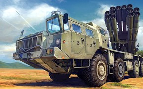 Картинка Смерч, РСЗО, 9К58, российская реактивная система залпового огня, 300 мм