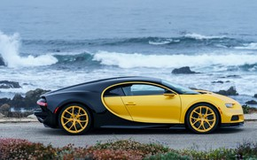 Обои побережье, Bugatti, 2018, Chiron, Yellow and Black
