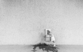 Картинка вода, стена, девочка