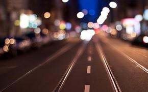 Картинка city, lights, evening, street, traffic, far away, blur bokeh effect, dividing line