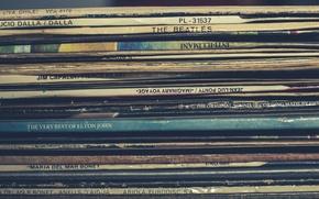 Обои музыка, винил, макро, пластинки
