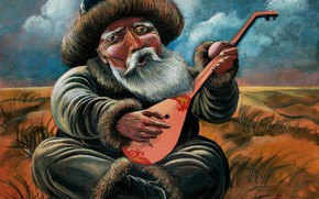 Картинка старик, Айбек Бегалин, 2005г, домбра, Акын