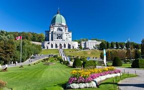 Картинка солнце, деревья, газон, Канада, лестница, собор, храм, Canada, Montreal, Lawn, Temples, Shrub
