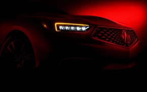 Картинка car, red, logo, Acura, Acura Tlx