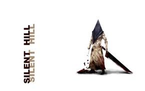 Картинка ужас, маньяк, кровища, тесак, Silent Hill, шрамы, лохмотья, пирамидоголовый, Pyramid Head, лужа крови, Тихий холм