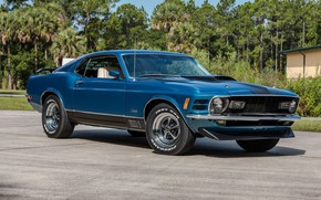 Картинка Mustang, Ford, Muscle, Blue, 1970, Fastback, Mach 1