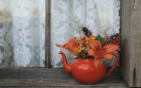 Картинка настроение, чайник, букетик, лилейник