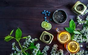 Картинка ягоды, лимон, чай, черника, напиток