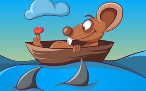 Картинка Вода, Лодка, Мышка, Рендеринг