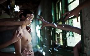 Картинка человек, руки, окно