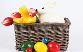 Картинка цветы, яйца, весна, кролик, Пасха, тюльпаны, spring, Easter, крашеные, basket, Holidays, Tulips, Rabbits