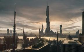 Картинка город, башни, Julian Calle, Matte practice