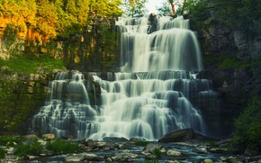 Картинка природа, камни, скалы, водопад